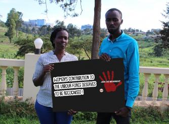 ActionAid Rwanda staff participating in the One Global Campaign on Women Labor,Decent Work & Public Services