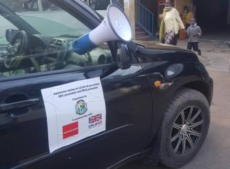 A mobile megaphone delivering messages on COVOID-19 prevention